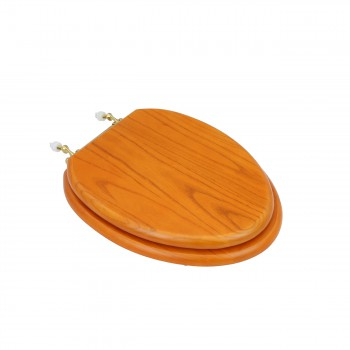 Elongated Toilet Seat Solid Wood Golden Oak Brass PVD Hinge