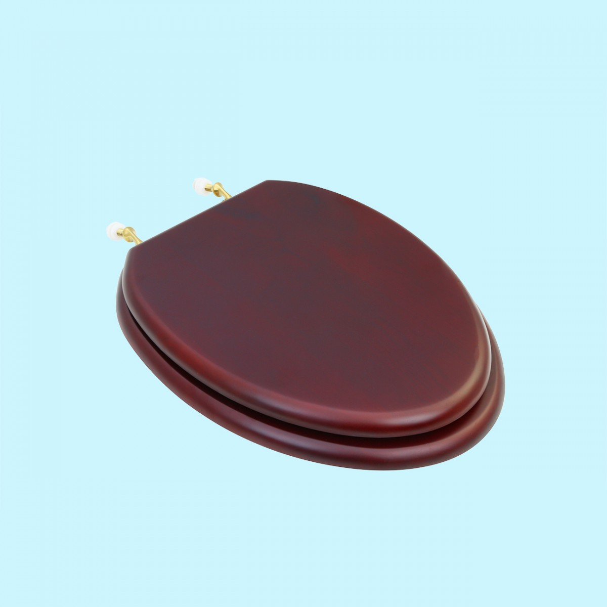 Toilet Seat Elongated Solid Wood Cherry Fin Brass Hinge Sup