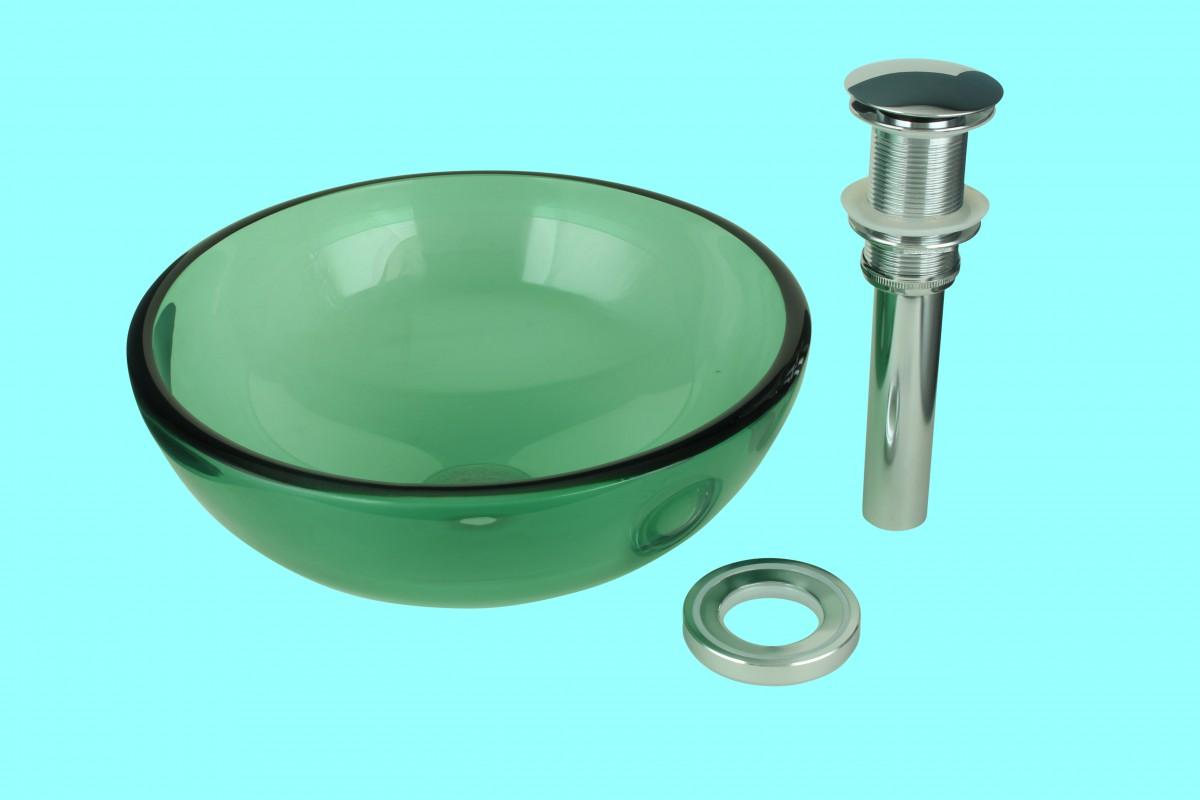 Vessel sink bathroom green glass piccolo mini round 11 3 4 - Green glass vessel bathroom sinks ...