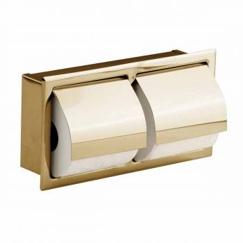 Recessed Toilet Paper DoubleTissue Holder Gold Stainless