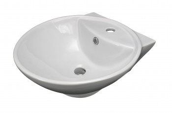 Bathroom Vessel Sink White China Lucille Faucet Hole Large