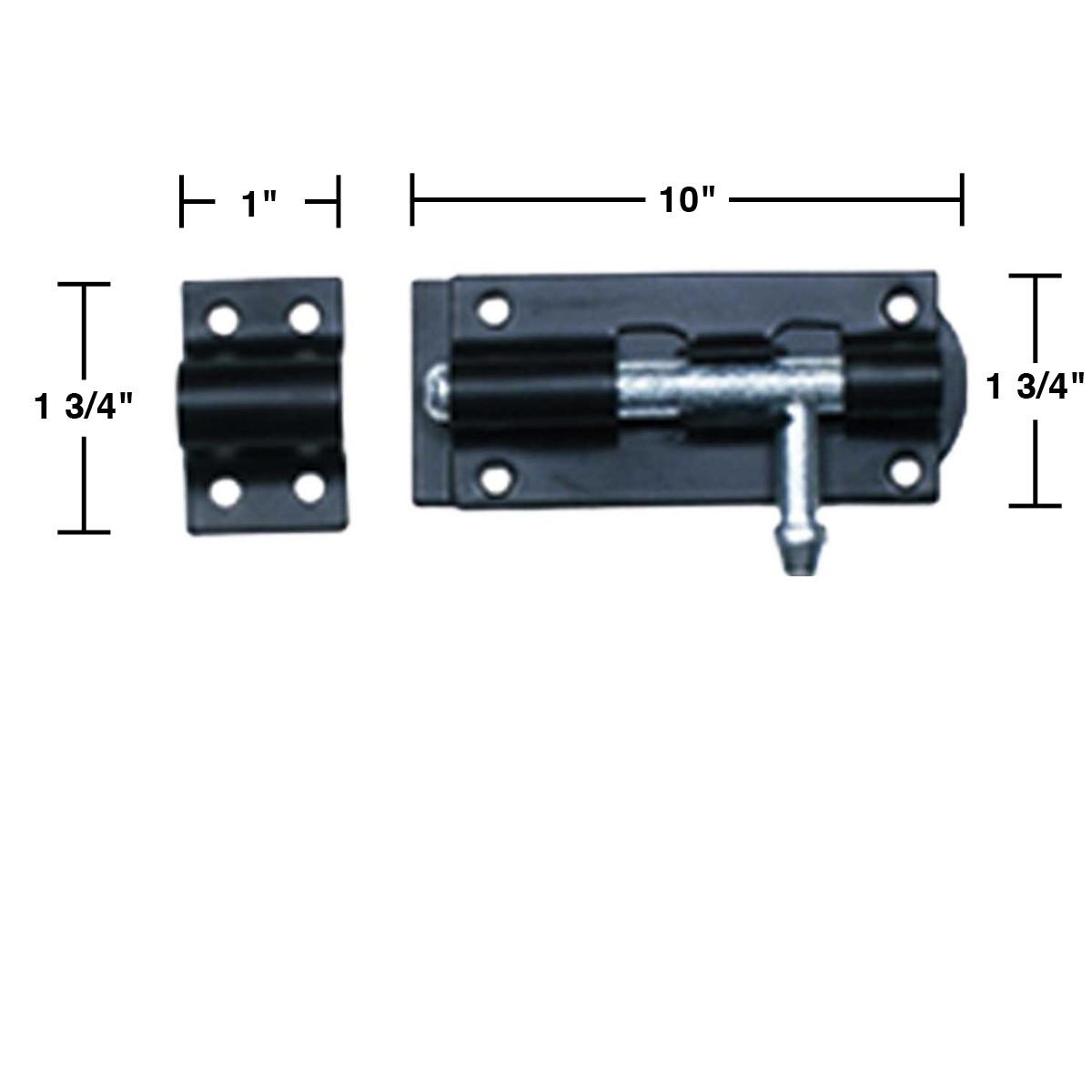 Black Wrought Iron Tower Door Bolt 10 | Renovators Supply 3