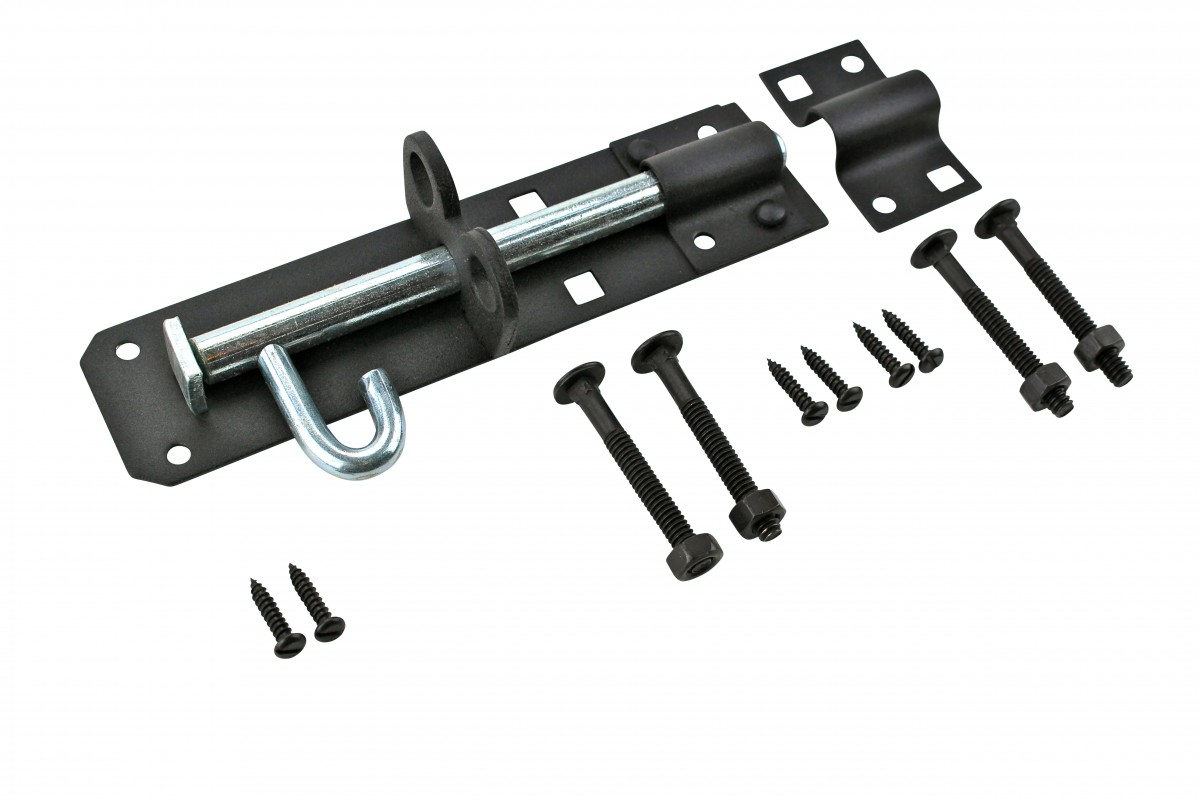 Slide Door Bolt Black Wrought Iron 6 L | Renovators Supply