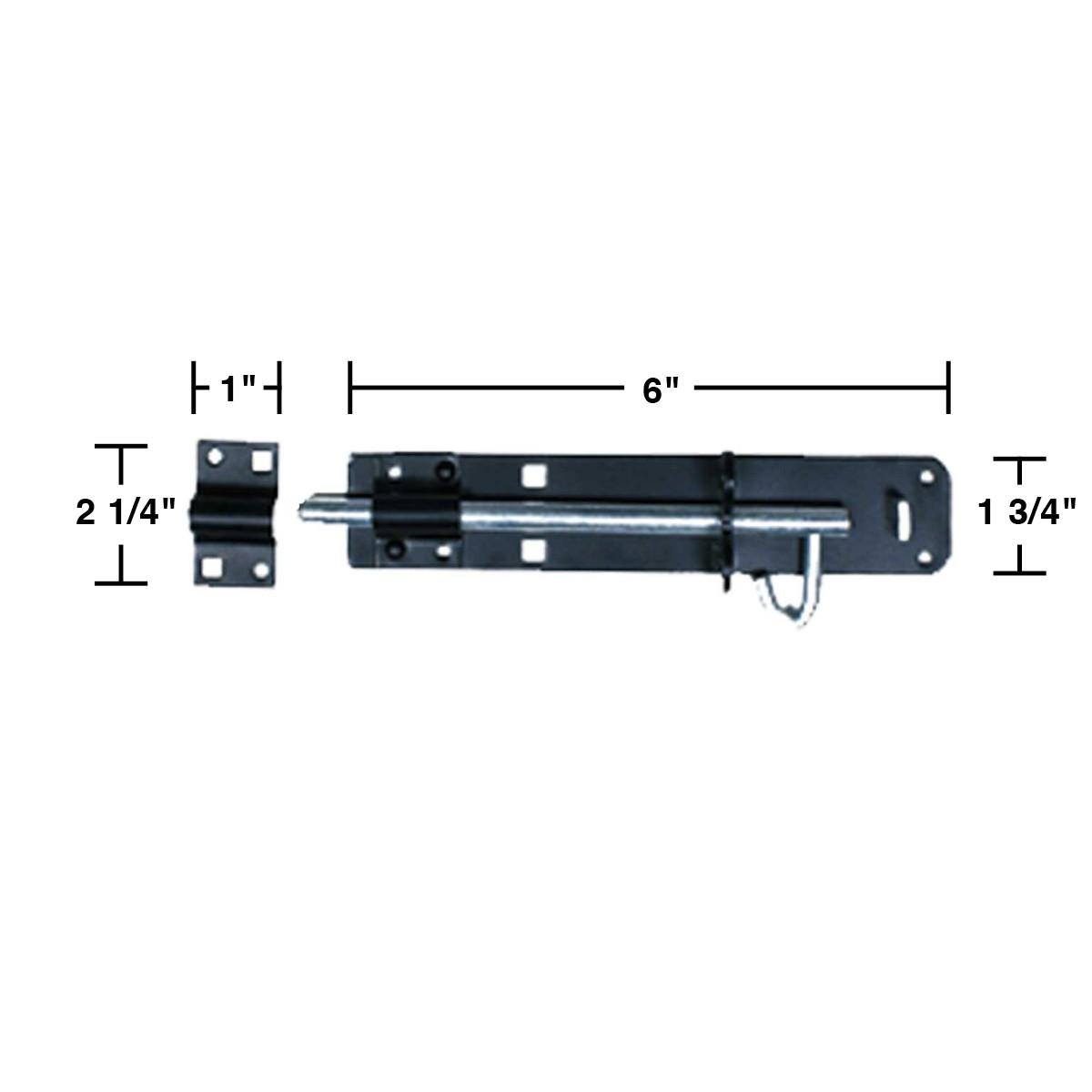 Slide Door Bolt Black Wrought Iron 6 L | Renovators Supply 3