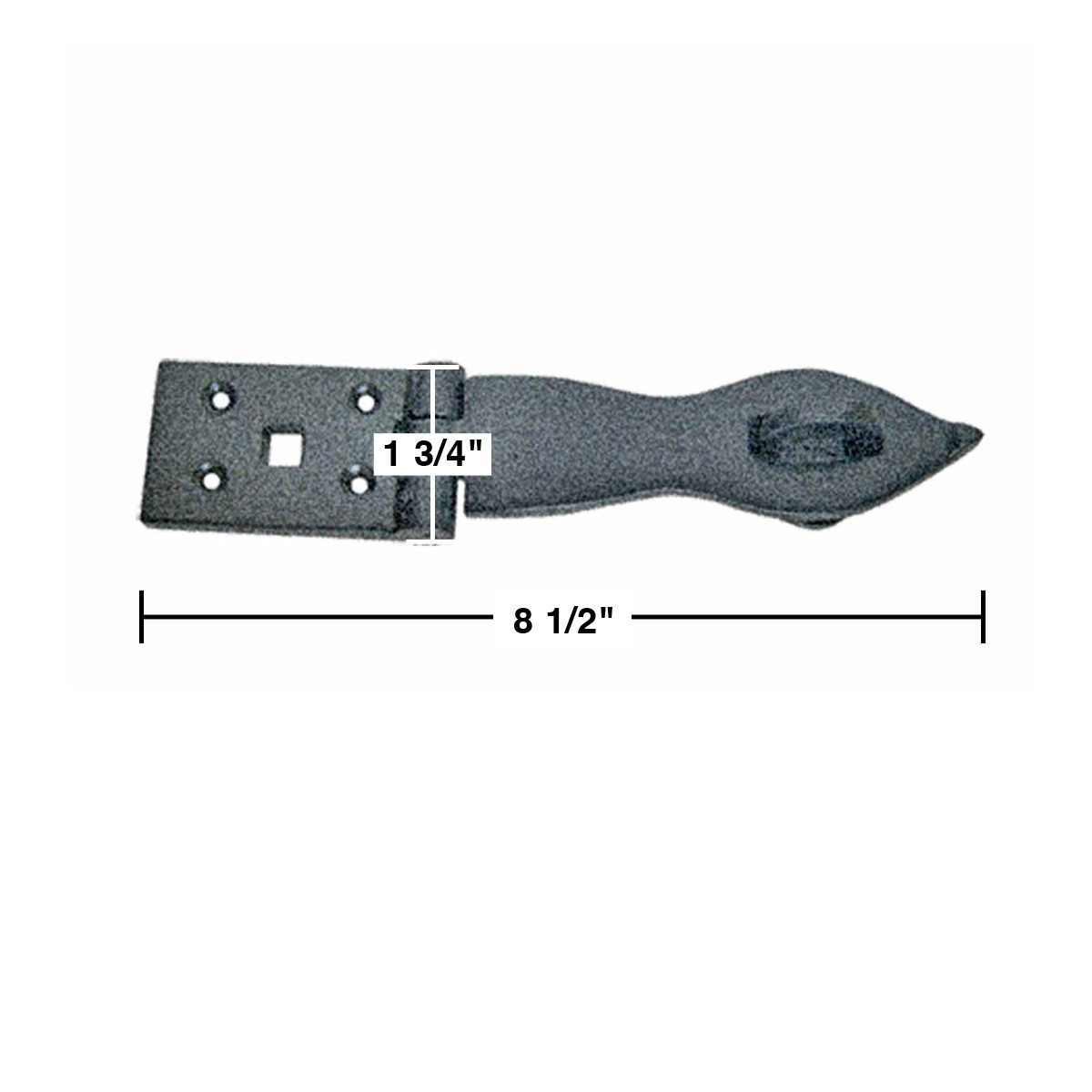 Hasp Black Wrought Iron 1 3/4 H x 8 1/2 W | Renovators Supply 3