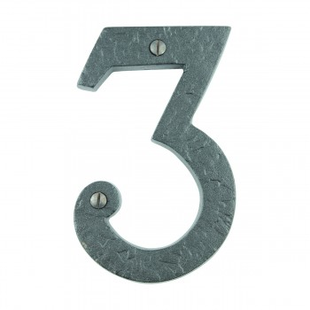 Number 3 House Number Black Wrought Iron 4H