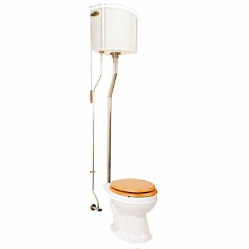 Ceramic Corner High Tank Pull Chain Toilet Round Bone Brass