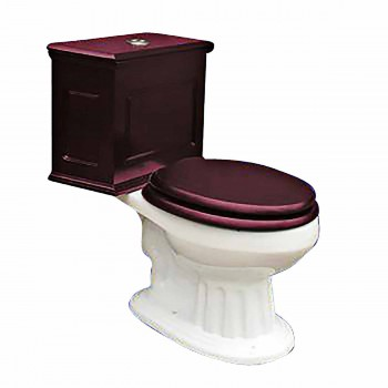 Elongated Toilet with Cherry Tank and Bone Bowl