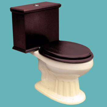 Elongated Toilet with Dark Oak Tank and Bone China Bowl
