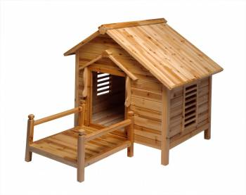 Wood Dog House Outdoor Wooden Pet Shelter Bed Large w Porch