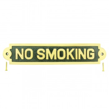 Solid Brass Sign NO SMOKING Polished Brass Plaques