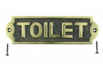 Solid Brass Sign TOILET Polished Brass Plaques