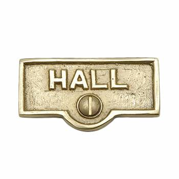 Switch Plate Tags HALL Name Signs Labels Lacquered  Brass