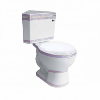 Water Saver Corner Dual Flush Toilet White w/Rose Trim Round Dual Flush