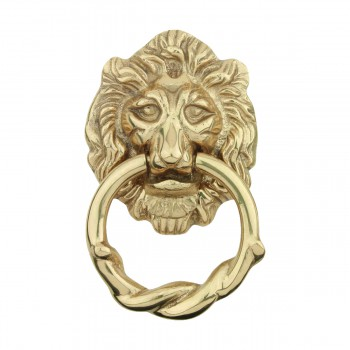 Door Knocker Lion Cast Brass  6 14 H x 3 58 W