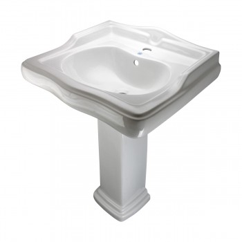 White China Pedestal Sink Grade A Vitreous Scratch Resistant