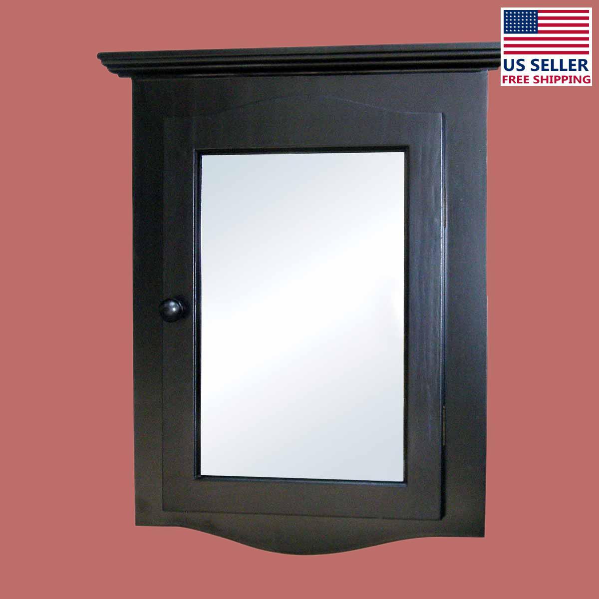 black solid wood corner medicine cabinet recessed mirror renovator 39 s supply ebay. Black Bedroom Furniture Sets. Home Design Ideas