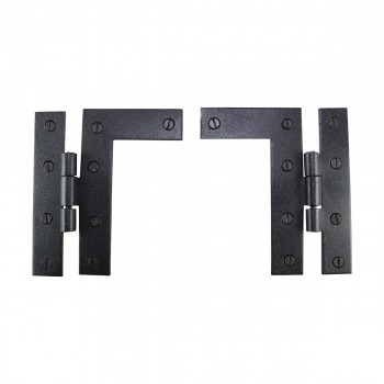 Pair Flush HL Cabinet Hinge Wrought Iron 45H