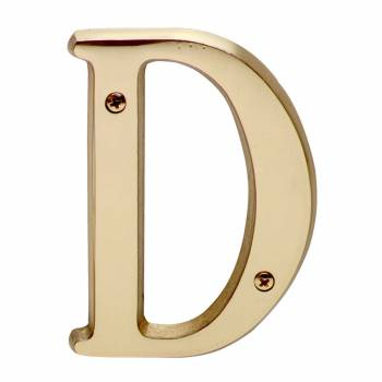 Letter D House Letters Solid Bright Brass 4