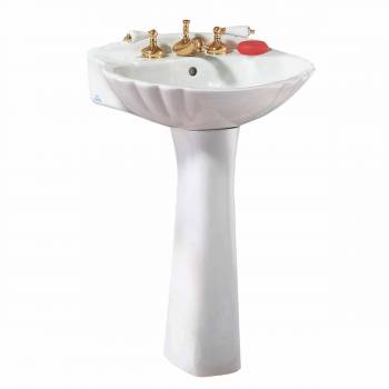 Bathroom Tall Pedestal Sink White China Shell 8 Widespread