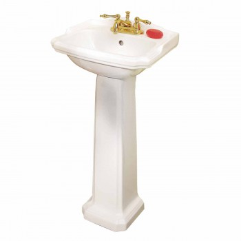 Small White Pedestal Sink Space Saver Grade A Vitreous China