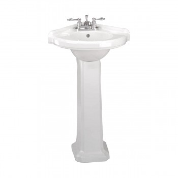 Small Corner Pedestal White Bathroom Sink Vitreous China