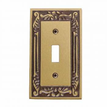 Victorian Switch Plate Single Toggle / Dimmer Antique Brass