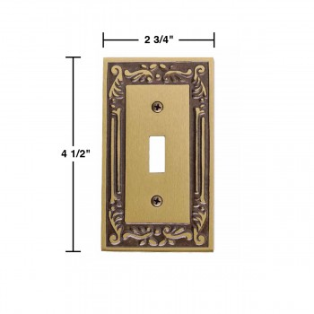 spec-Victorian Switch Plate Single Toggle / Dimmer Antique Brass