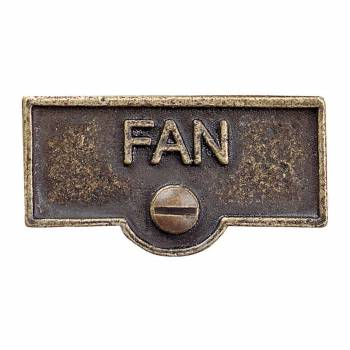 Switch Plate Tags FAN Name Signs Labels Antique Brass