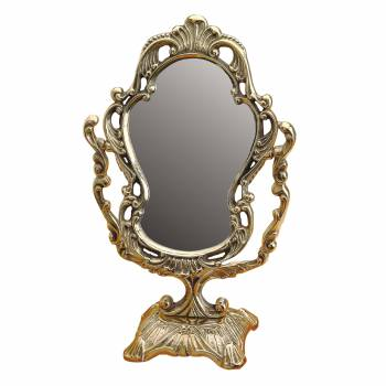 Antique Cast Brass Vanity Mirror Table Make Up