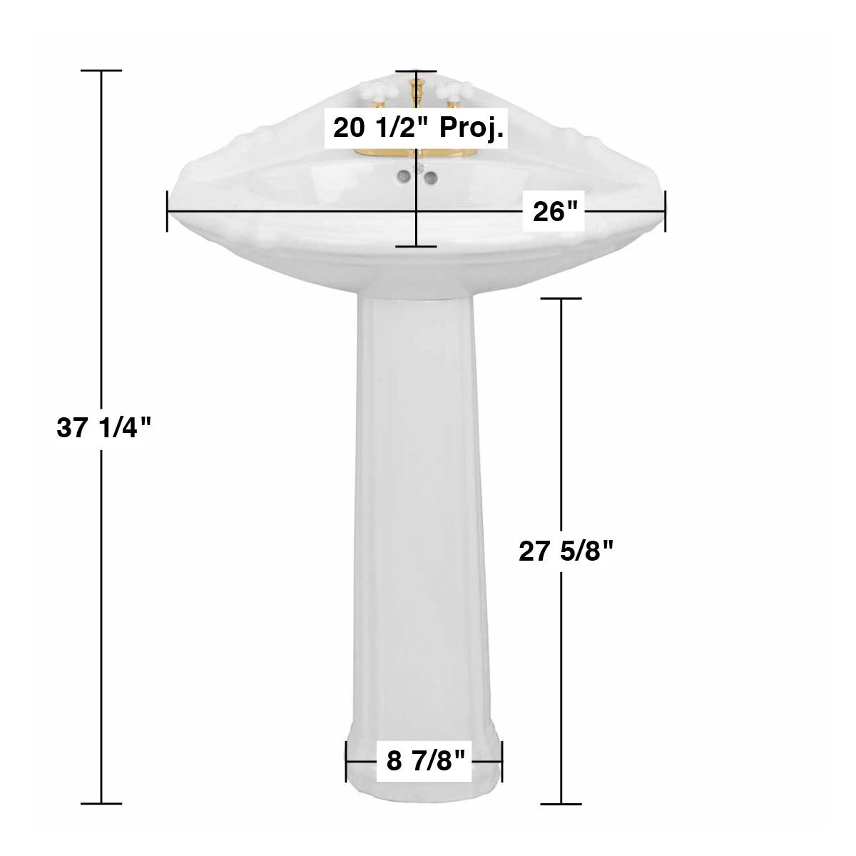 Bathroom Corner Pedestal Sink White China Sheffield Deluxe