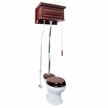 Cherry High Tank Pull Chain Toilet White Round Chrome