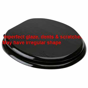 IMPERFECT Round Toilet Seat Chrome Fittings Black Painted Finish