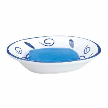 Bathroom Soap Dishes BlueWhite Neptune Ceramic Dish