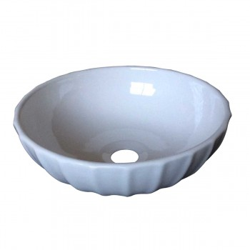 Watts White Round Vitreous China Fluted Vessel Sink