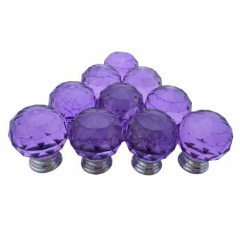 Purple Glass Cabinet Knobs 30mm Round 10 pcs