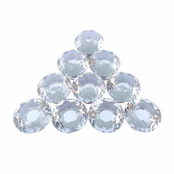 Clear Glass Cabinet Knobs 30mm Mushroom 10 pcs