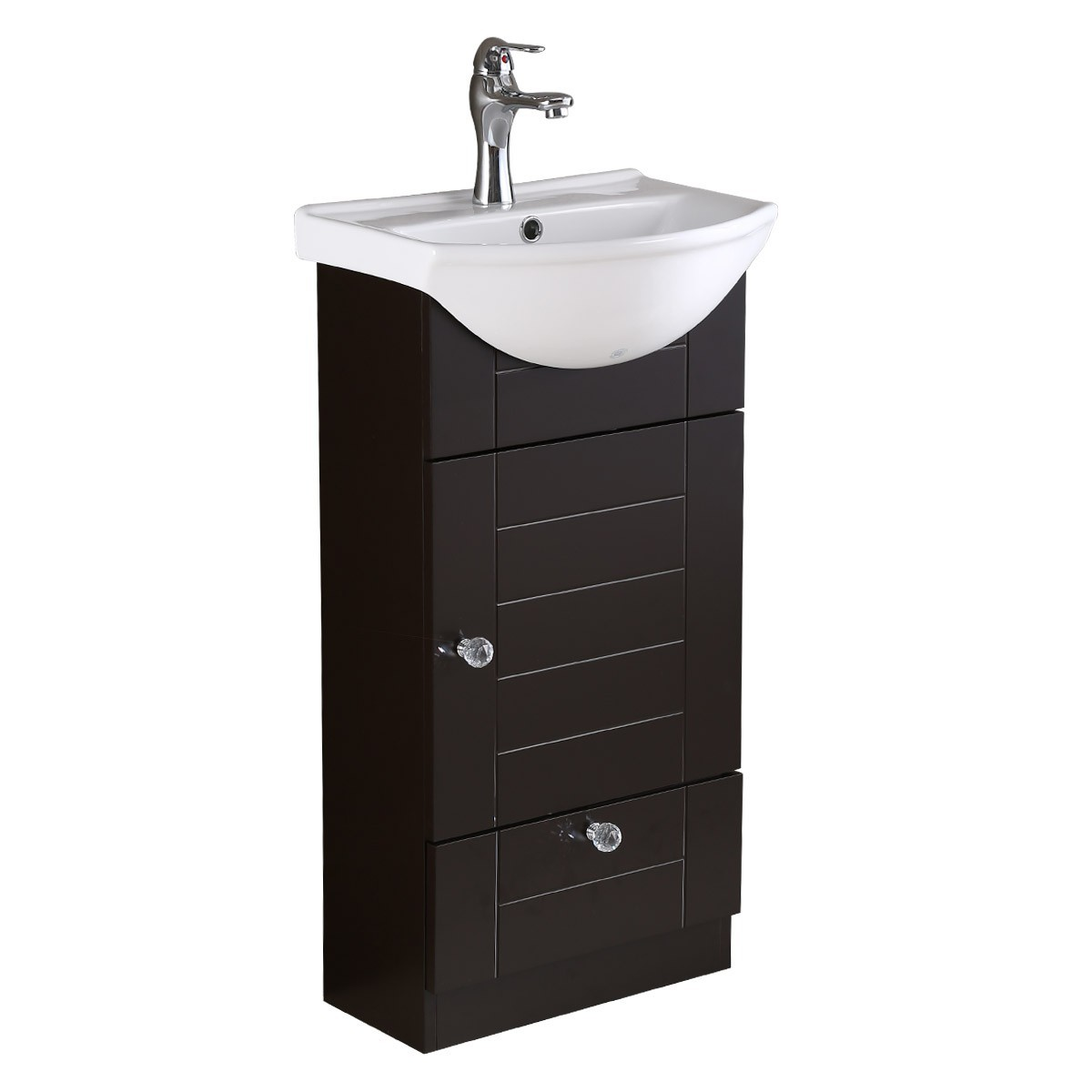 Bathroom Vanity White Sink Black Square Cabinet Wall Mount