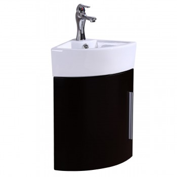 Corner Wall Mount Bathroom Vanity Sink White with Black Vanity
