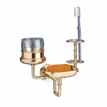 Brass Toothbrush Cup Tumbler Holder Soap Dish 3 in 1