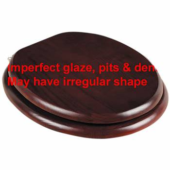 IMPERFECT Round Toilet Seat Brass PVD Fittings Red Cherry Tint Finish