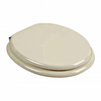 IMPERFECT Round Toilet Seat Brass PVD Fittings Bone Painted Finish