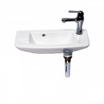 Wall Mount White Bathroom Sink Complete Faucet Set