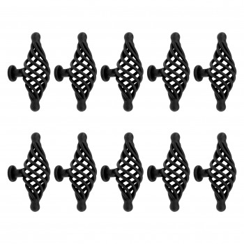 10 Door or Drawer Cabinet Pull Birdcage Black Iron 3 14
