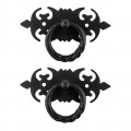 2 Ring Pull Cabinet Drawer Door Wrought Iron Black 3 1/2