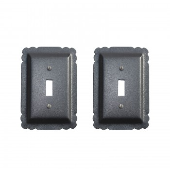 2 Switchplate Black Steel Single Toggle