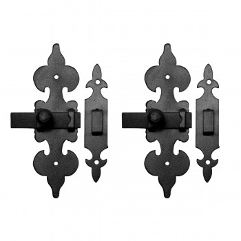 2 Cabinet Latch Wrought Iron Black Fleur de Lis 6