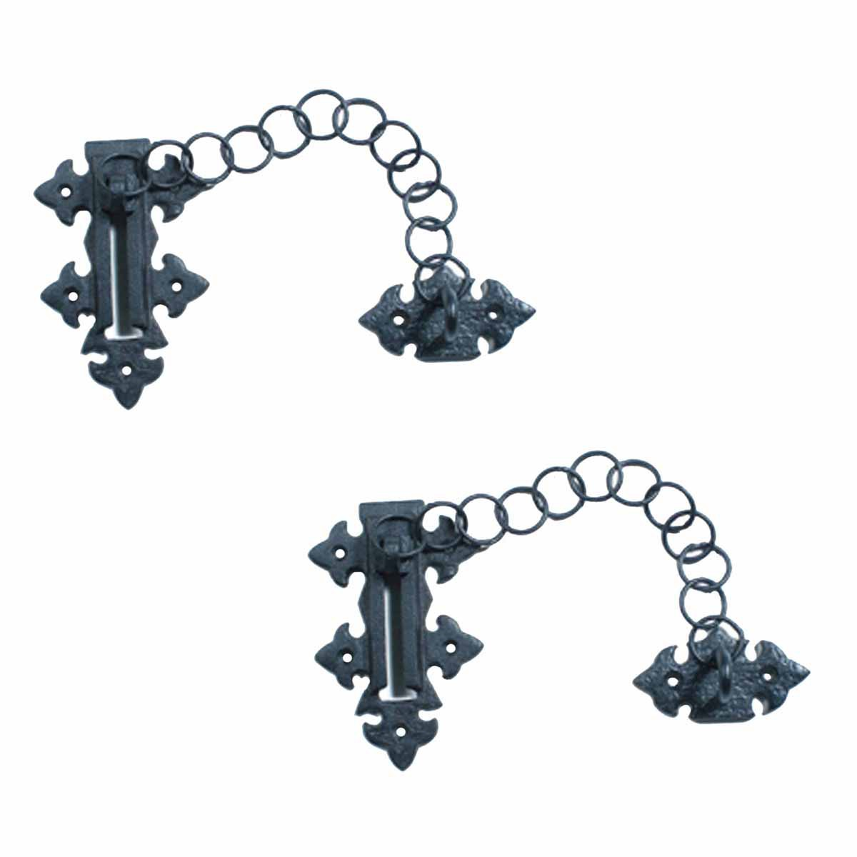 Chain door locks black wrought iron rustproof set of