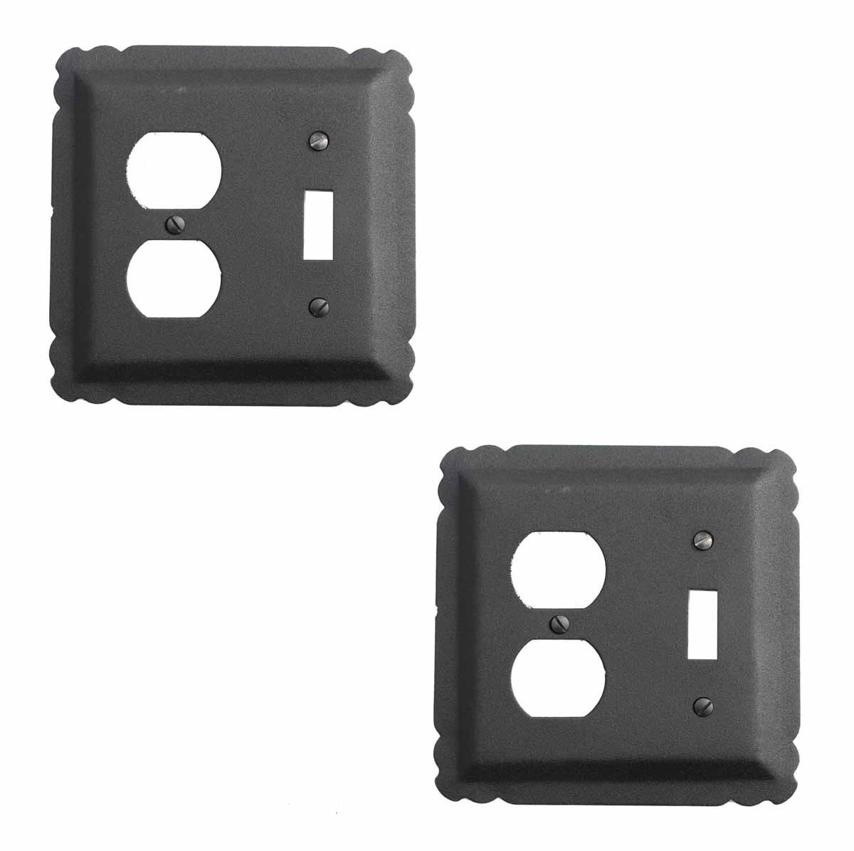 2 Switchplate Black Wrought Iron Toggle/Duplex   Renovators Supply