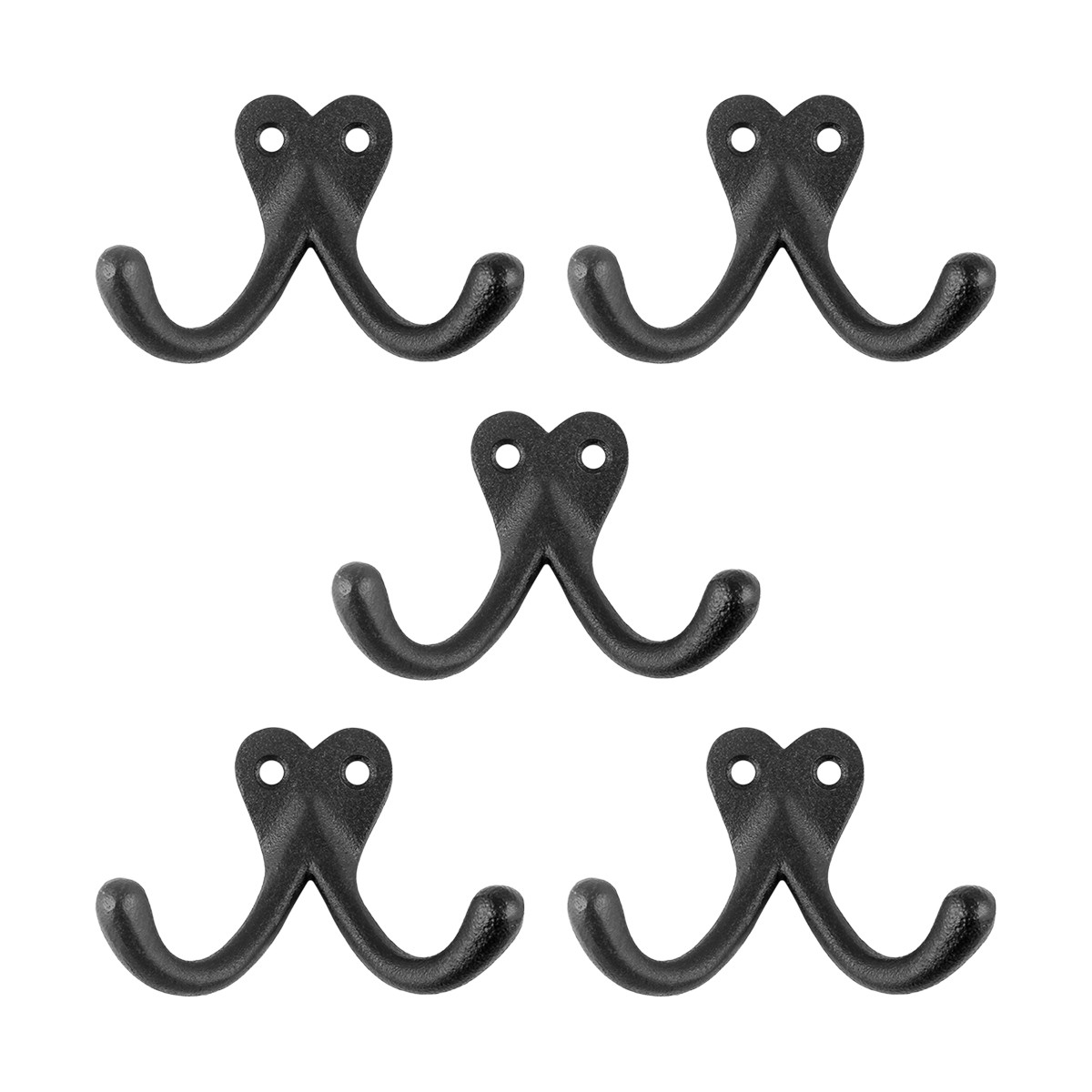 5 Iron Hooks Double Black Wrought Iron Hat Coat Set of 5 | Renovators Supply